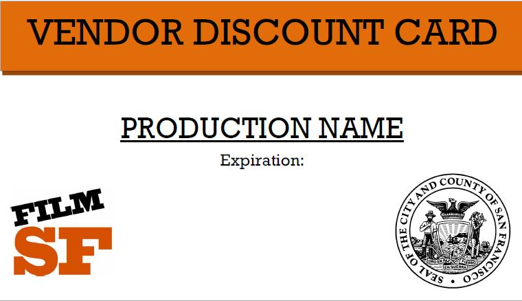 SF Film Commission Vendor Discount Card